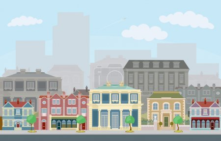 Illustration for An urban street scene with smart townhouses and skyscrapers in the background - Royalty Free Image