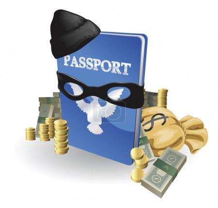Illustration for Identity theft concept. Passport with wearing burglar outfit surrounded by stacks of money. - Royalty Free Image