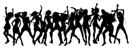 Illustration for Silhouettes of sexy beautiful women dancing - Royalty Free Image