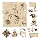 Example map and design elements to make your own fantasy or treasure maps Includes mountains buildings trees compass etc