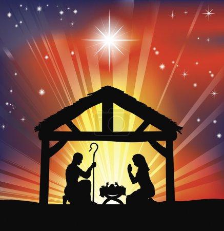 Illustration for Illustration of traditional Christian Christmas Nativity scene - Royalty Free Image