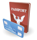 Passport and credit card illustration Personal identity concept