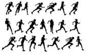 Runners running silhouettes