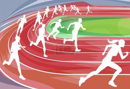 Illustration pour Fond illustration des coureurs de Sprint dans une course autour de la piste - image libre de droit