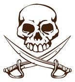 Pirate skull and crossed swords symbol