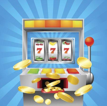 Illustration pour Une machine à sous de fruits gagnant sur 7s. Pièces d'or volent au spectateur . - image libre de droit
