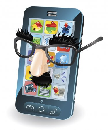 Illustration for Mobile phone with disguise on, concept for chipping phone or cloning sims etc. - Royalty Free Image