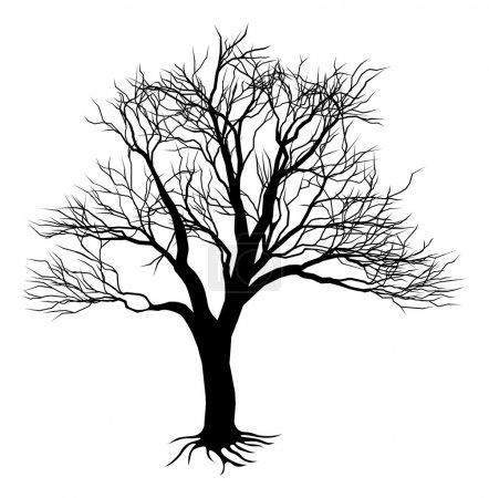 Illustration pour Illustration d'une effrayante silhouette d'arbre noir - image libre de droit