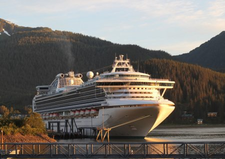 Cruise ship in Juneau Alaska in evening light