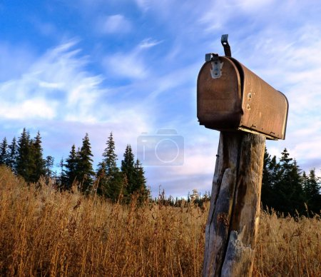 Photo for A rusty old rural mailbox on a wooden post in dry grass with spruce in the background and a bright blue sky with clouds - Royalty Free Image