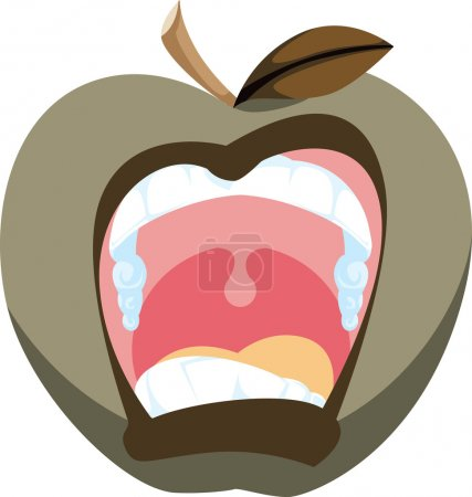 Cartoon icon of a screaming apple in a bad mood....