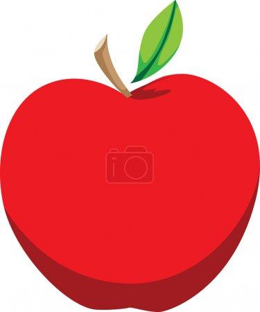 Bright Red Apple Illustration