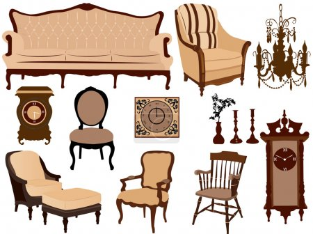 Illustration for Antique furniture on the white background - Royalty Free Image