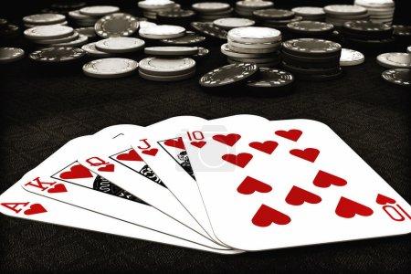 Poker suit Royal Flush of hearts