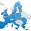 Map of the European Union. The capitals and the bo...