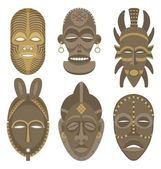 Six African masks No transparency and gradients used