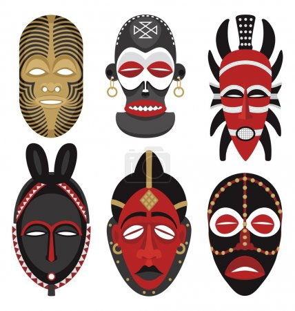 Illustration for Six African masks. No transparency and gradients used. - Royalty Free Image