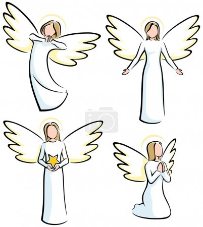 Photo for Set of 4 stylized angels. No transparency and gradients used. - Royalty Free Image