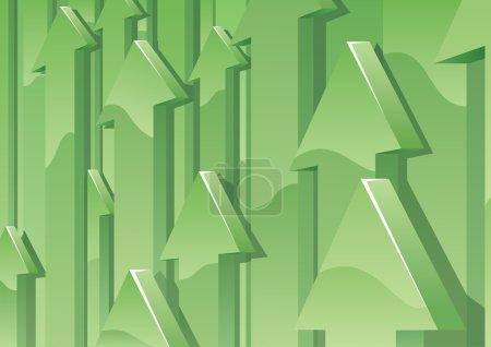 Illustration pour Fond abstrait avec des flèches 3D vertes pointant vers le haut. Aucune transparence utilisée. Gradients de base (linéaires) utilisés . - image libre de droit