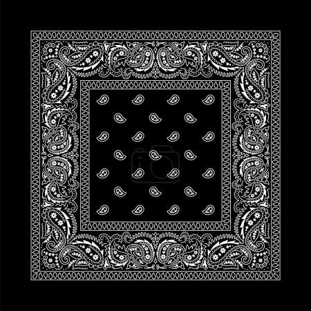 Illustration pour Bandana noir avec des ornements blancs. aucune transparence et des dégradés utilisés. - image libre de droit