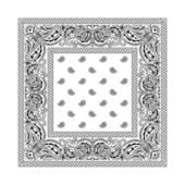 White bandana with black ornaments No transparency and gradients used