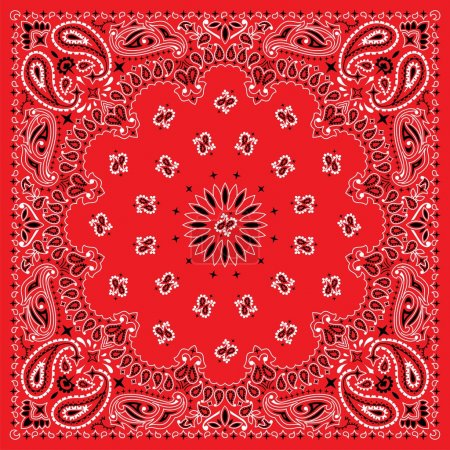 Illustration pour Bandana de 3 couleurs. vous pouvez facilement modifier la couleur d'arrière-plan dans le fichier vectoriel. aucune transparence et des dégradés utilisés. - image libre de droit