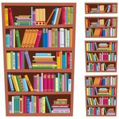 Cartoon illustration of a bookshelf in 5 different versions No transparency used Basic (linear) gradients used