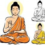 Stylized illustration of Buddha, isolated on white...
