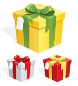 A gift box in 3 color versions No transparency used Basic (linear) gradients used