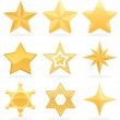 9 Golden star icons. No transparency used. Basic (...