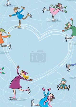 Illustration pour Placez votre texte au milieu de la patinoire et vous avez une carte de vœux cool. Pas de transparence et de gradients utilisés . - image libre de droit