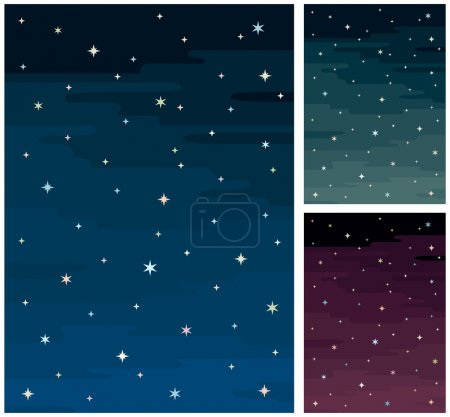 Illustration for Cartoon night sky in 3 color versions. No transparency and gradients used. A4 proportions. - Royalty Free Image