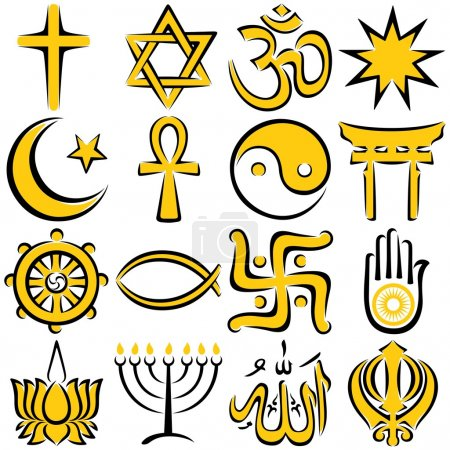 Photo for Set of 16 religious symbols, executed in line art. No transparency and gradients used. - Royalty Free Image