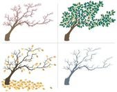 A tree shown during the four seasons No transparency and gradients used
