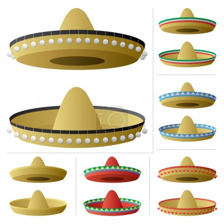 Illustration for A sombrero in 2 positions and 6 color variations. No transparency used. Basic (linear) gradients used. - Royalty Free Image