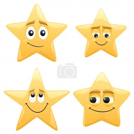 Illustration for 4 shiny cartoon stars. No transparency used. Basic (linear) gradients used. - Royalty Free Image