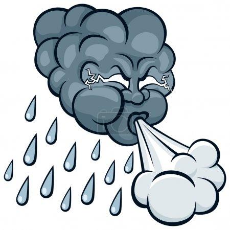 Illustration pour Nuage de tempête de dessin animé. Pas de transparence et de gradients utilisés . - image libre de droit