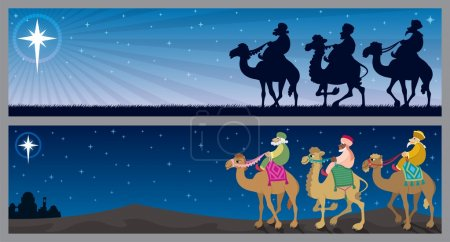 Illustration for Two Christmas banners with the three wise mеn and the Star of Bethlehem. No transparency used. Basic (linear) gradient used for the sky. - Royalty Free Image