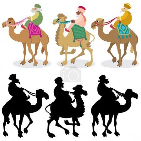 Illustration pour Les trois sages et leurs chameaux isolés sur du blanc. Des silhouettes sont également incluses. Pas de transparence et de gradients utilisés . - image libre de droit