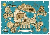 Map of treasure island in the shape of skull and bones Use the X in the lower right corner to mark the place of the treasure