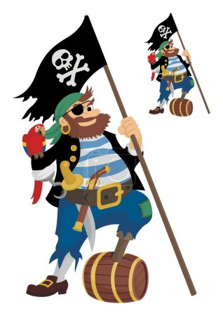 Illustration for A happy pirate, owning all the accessories required for his profession. On the little picture is the same pirate, but without shades. - Royalty Free Image