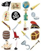 Collection of 20 cartoon pirate accessories No transparency and gradients used