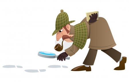 Cartoon illustration of a detective, following foo...