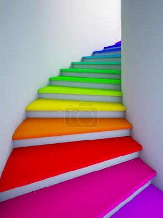 Spirale bunte Treppe in die Zukunft.