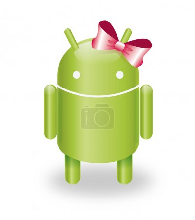 Illustration for Female android robot with a pink ribbon - Royalty Free Image