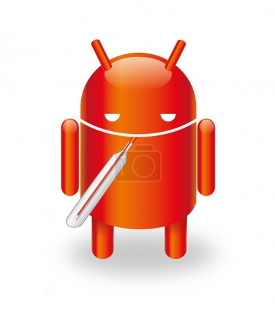 Illustration for Android Robot infected with virus - Royalty Free Image