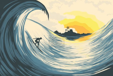 Illustration for Tropical island wave and surfer at sunset - Royalty Free Image