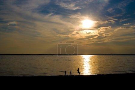 Beach sunset silhouette