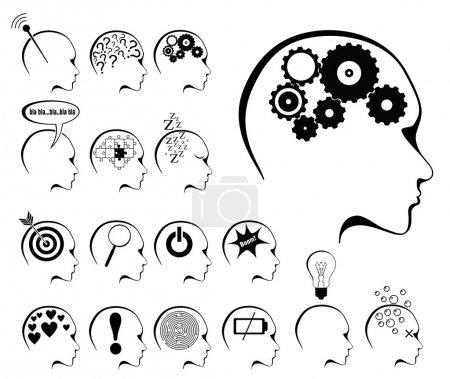 Brain activity and states icon set