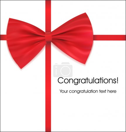 Congratulations with bow on ribbon red vector illustration